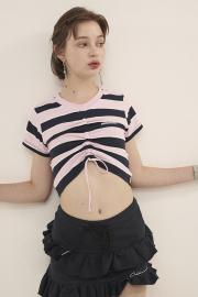 【ODD ONE OUT】STRIPE STRING CROP