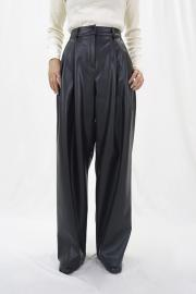 Fake Leather Tuck Pants
