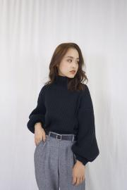 <SALE>High  neck rib knit