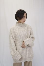 High neck mix knit