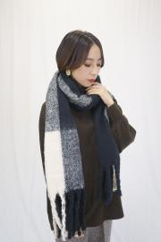 Check fringe long muffler